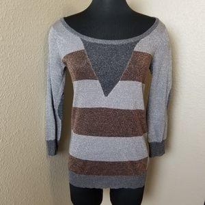 Stussy Striped Metallic 3/4 Sleeve Sweater
